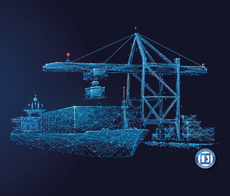 Illustration of a containervessel and crane