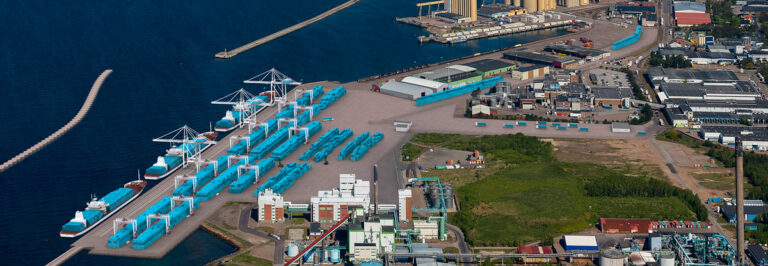 Artist impression of the new container terminal in Port of Helsingborg showing ships and containers