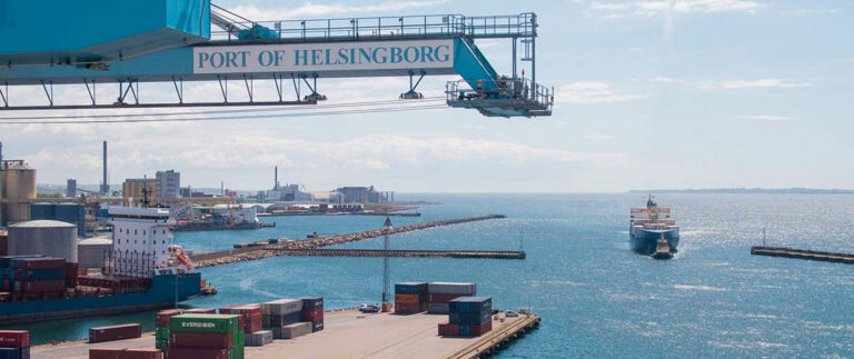 Container ship on it´s way into Port of Helsingborg